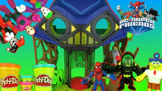 Imaginext Batman vs Joker Battle with Spongebob vs Spiderman Hall Of Doom Playset Parody Video