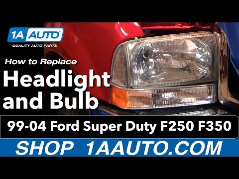 How To Install Replace Headlight and Bulb 99-04 Ford Super Duty F250 F350 1AAuto.com