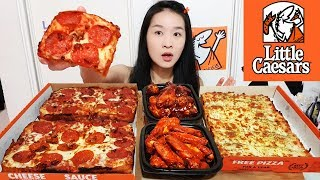 BACON WRAPPED DEEP DISH PIZZA! Little Caesars Spicy Buffalo Wings, Cheesy Pepperoni Pizza - Mukbang