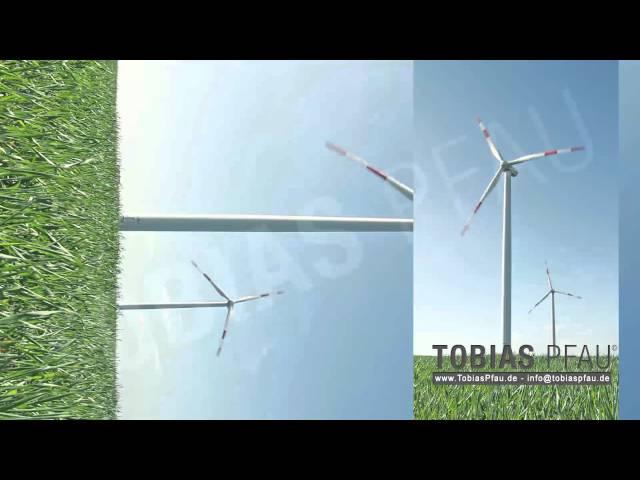 Windpark, Windrad auf freier Fläche - Hochformat, Portrait full HD