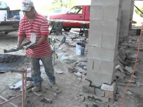 Stone Veneer Applied To Concrete Block Columns Youtube