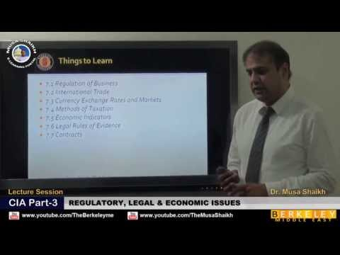 CIA Part-3 Regulatory, Legal and Economic Issues - Dr. Musa Shaikh