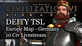 #2 Livestream VOD: Turn 249 Deity Science Victory - Europe TSL Germany Civ 6 Rise and Fall Gameplay