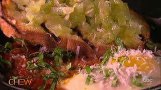 The Chew's Eggs In Hell with Green Tomato Bruschetta Recipe