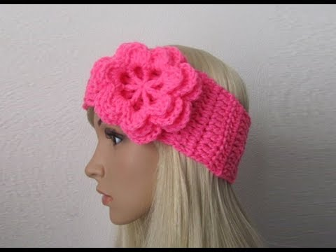 How to Crochet Earwarmer/Headband with a Flower Pattern #3│by ThePatterfamily