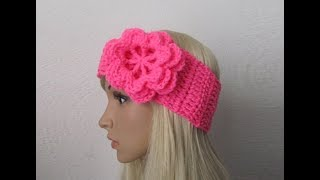 Download How to Crochet Earwarmer/Headband with a Flower Pattern #3│by ThePatterfamily 3Gp Mp4