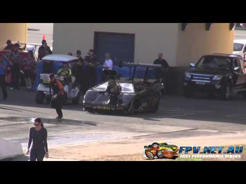 LAMBORGHINI BLOWN V8 DRAG CAR ALF SCIACCA RACING 6.60 @ 205 MPH SYDNEY DRAGWAY 4.5.2013