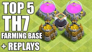 Clash of Clans - Top 5 Best Town hall 7 (Th7) Farming Base & Hybrid Base + DEFENSE REPLAYS