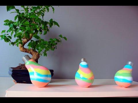 Декор из Лампочки с Разноцветной Солью!!! (The decor of light bulbs with colored Salt)
