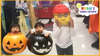 Kid plays Hide and Seek Halloween shopping Family Fun Toy Hunt + Kid Size Cooking Halloween Cookies