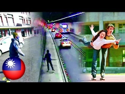 Sikat na coach, nalasing at nag-roller-skating sa highway sa Taiwan!