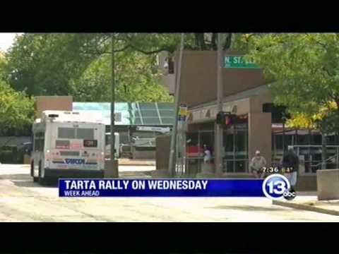 TV coverage promoting Toledo transit workers rally for better transit