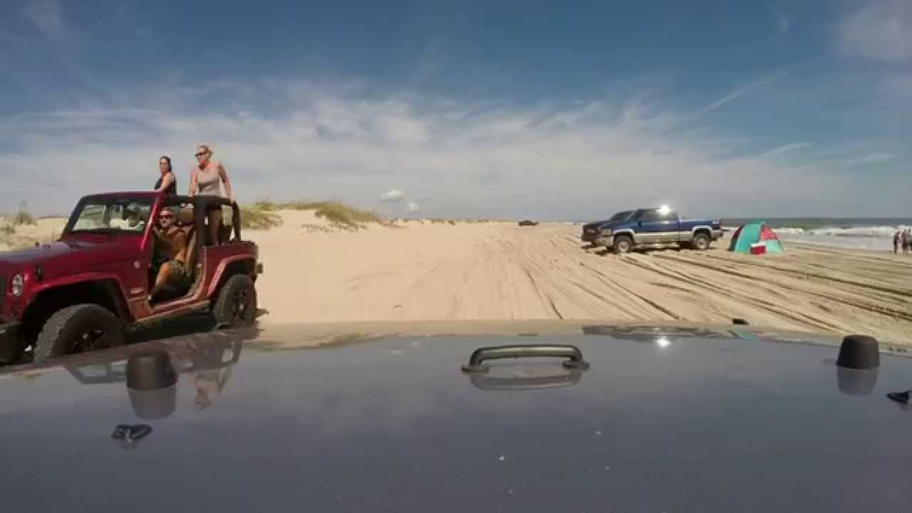 Beach Driving In The Jeep In Carova Nc Youtube