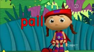 "Wonder Red reads the word ""pail"""