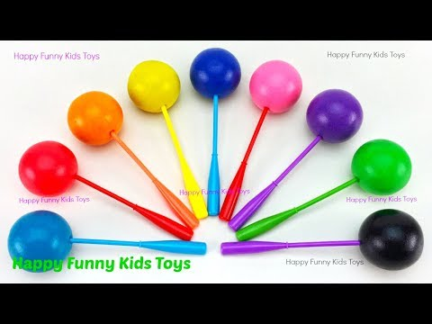 Learn Colors with Play Doh Lollipop and Rhino Cookie Molds Surprise Toys