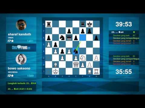 Chess Game Analysis: bowo saksono - sharaf kandoth : 1-0 (By ChessFriends.com)