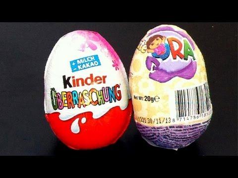 2 Dora the explorer & kinder surprise egg unboxing toys - gonzalomedin