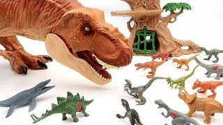 Dinosaur T Rex Eat 15 Little Dinosaurs! Jurassic World Mini Dino Playset Toys