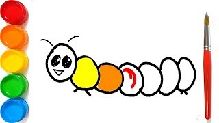 Coloring and Drawing for Kids How to Draw and Color a Caterpillar
