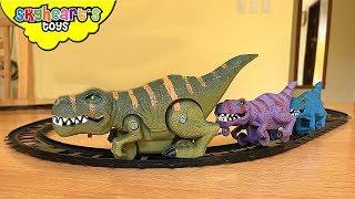 DINOSAUR TRAIN TOYS and triceratops cars, trex dinosaurs for kids children jurassic world