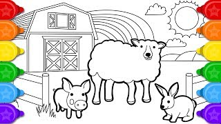 glitter sheep farm animals coloring and drawing for kids | how to draw glitter sheep coloring pages