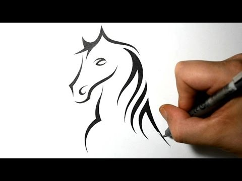 How to Draw a Horse Portrait - Tribal Tattoo Design Style