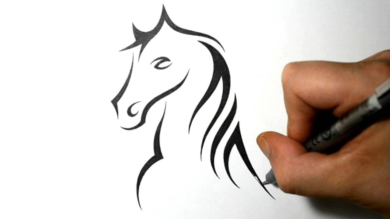 how to draw a horse portrait tribal tattoo design style youtube. Black Bedroom Furniture Sets. Home Design Ideas