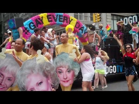 LOGO TV 2013 NYC GAY PRIDE PARADE Hunks & Golden Girls Faces... WOW!!!!
