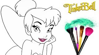 How to Draw & Color Tinker Bell | Drawing Disney Princess watercolor Makeup | Toddlers Learn Colors