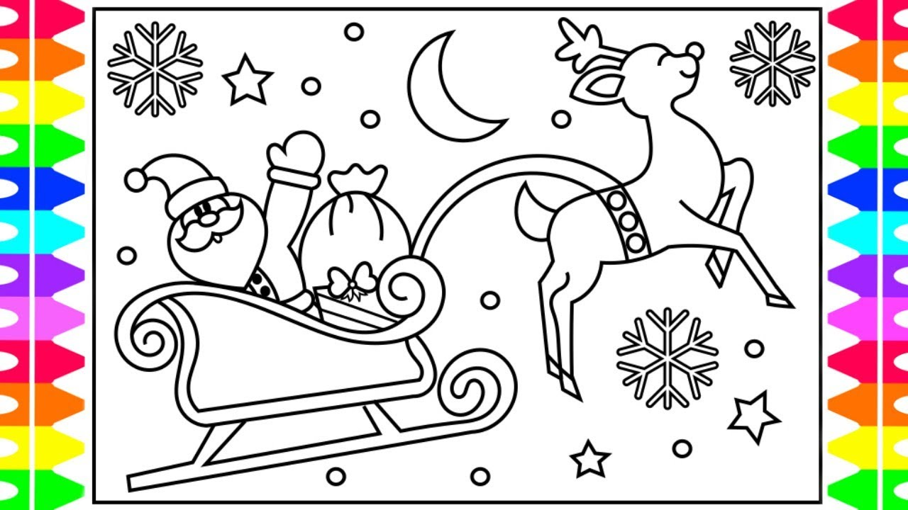 How to draw santa 39 s sleigh step by step for kids santa for Santa and sleigh coloring pages