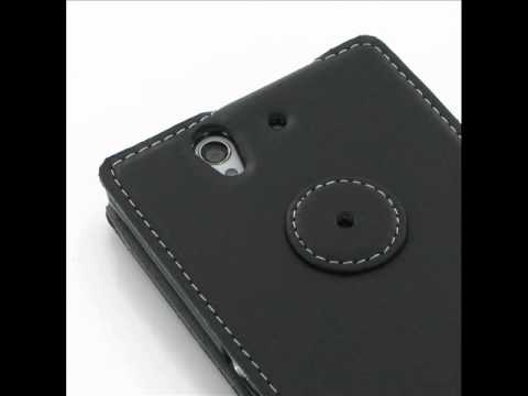 PDair Ultra Thin Leather Case for Sony Xperia Z L36H - Flip Top Type (Black)