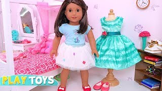 American Girl Doll Lucia Dress up and Play with Little Bunny Toy! 🎀