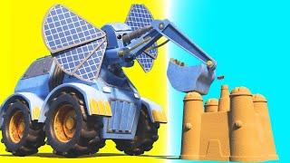 AnimaCars - The ELEPHANT EXCAVATOR builds a sandcastle on the beach - cartoons with trucks & animals
