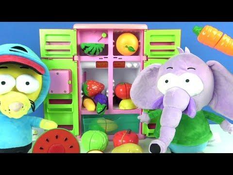 King Shakir Plüschtier und Kuschel-Elefant essen Spiellebensmittel Obst und Gemüse Kindervideo