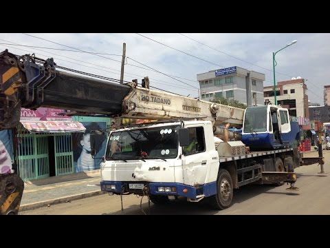 Installing Street Lights One - Addis Ababa Construction