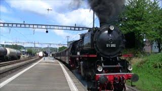 (FANTASTIC SOUND) German steam locomotive 01 202 Kloten, Switzerland