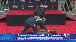 Keanu Reeves Needs 3 Takes To Sign His Name In Cement