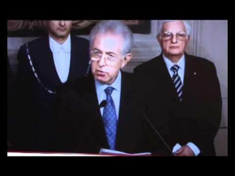 Il Presidente del Consiglio Mario Monti annuncia l