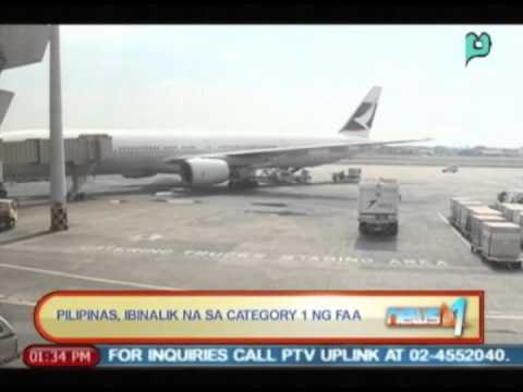 News@1: Pilipinas, ibinalik na sa 'category 1' ng Federal Aviation Administration