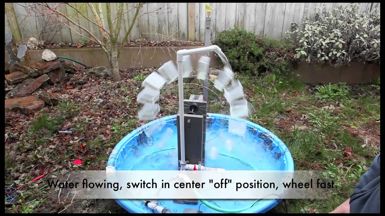 School Science Fair Electricity Generating Waterwheel
