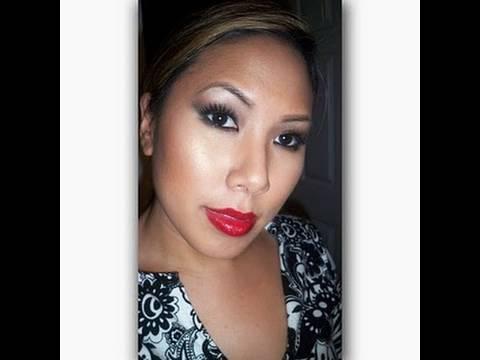Kim Kardashian Smokey Eyes and Red Lips