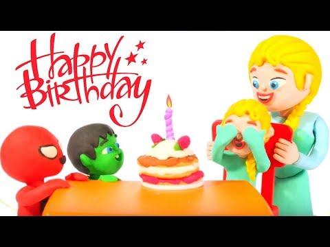 SUPERHERO BABIES MAKE A BIRTHDAY CAKE ❤ Spiderman, Hulk & Frozen Play Doh Cartoons For Kids