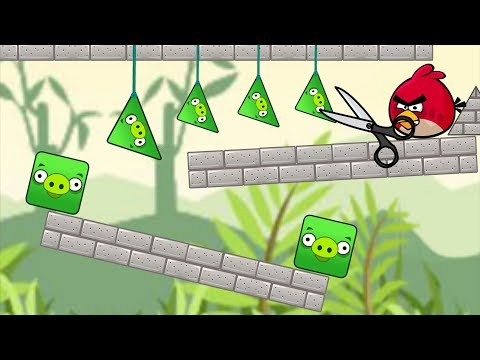 Angry Birds Piggies Out - KICK TRIANGLE AND SQUARE PIG BY CUTTING THE ROPE!