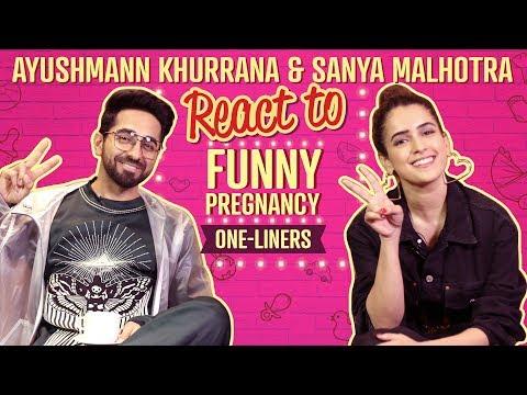 Ayushmann Khurrana & Sanya Malhotra reacts to funny pregnancy one liners | Badhaai Ho | Pinkvilla thumbnail