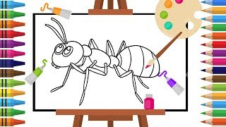 How to Draw ant -Coloring pages for Kids - Art Colors for Children - Learn Drawing - Art Explain