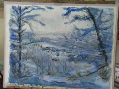 Pastel Snow Scene Painting a Big Snow Scene