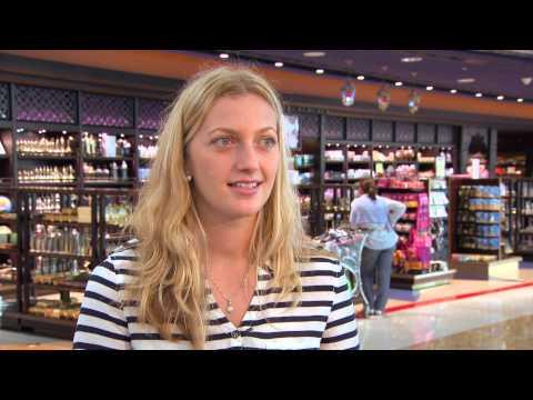 Petra Kvitova visits Dubai Airport.