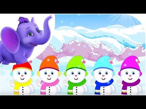 Five Little Snowmen with Lyrics & Sing Along