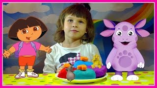 Сюрпризы из  Play-Doh игрушки Лунтик Шрек Даша   Surprises Play-Doh toys Luntik Shrek Dasha