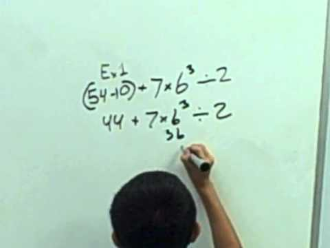 Order of Operations - The Chinquapin School - 6th Grade - 10/28/2010